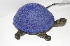 "+MBA #S30-084   ""2003 Blue Lighted Crackle Turtle Accent Lamp"""
