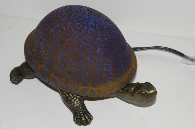 "MBA #S30-078   ""2003 Blue/Brown  Crackle Turtle Accent Lamp"""