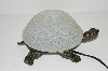 "+MBA #S30-065   ""2003 White Crackle Lighted Turtle Accent Lamp"""