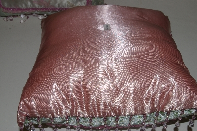 "MBA #S30-095   ""2004  Set Of 2 Victorian Style Green & Pink Beaded Dragonfly Pillows"""