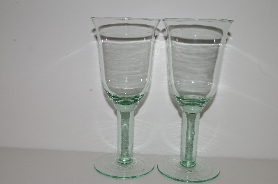 "**MBA #S30-175   ""1980's Set Of 2 Made In Spain Green Wine Glass's"""