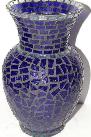 "MBA #S30-034   ""One Of A Kind DK Blue & AB Clear Stained Glass Vase"""