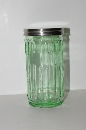 "**MBA #S13-212   ""2002 Depression Glass Green Storage Jar With Metal Lid"""