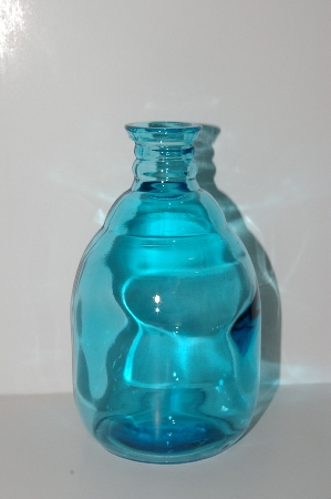 "**MBA #S13-221   ""2004 Reproduction Aqua Blue Glass Bud Bottle Vase"""