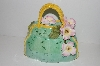 "**MBA #S13-234     ""Beautiful Green Three Demensional Floral Hand Bag Cookie Jar"""