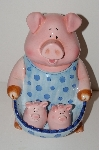 """SOLD""""""MBA #S13-245    ""Large Pink Pig Cookie Jar With Matching Nesting Salt & Pepper Shakers"""