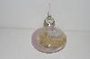 "**MBA #S13-001   ""Clear,Pink,Gold & White Art Glass Perfume Bottle With Glass Stopper"""