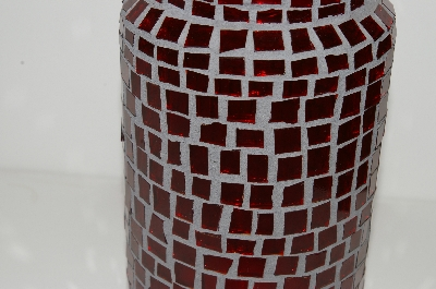 "MBA #S13-020   ""One Of A Kind Red Mosiac Stained Glass Canister Jar"""