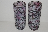 "MBA #S13-035  ""Set Of 2 Confetti Pink Glass Mosiac Large Pillar Candle Holders"""