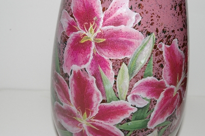 "**MBA #S13-042   ""Hand Done Reverse Decopage Pink  Floral Vase"""