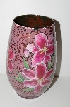 "+MBA #S13-042   ""1990's Hand Done Reverse Decopage Pink  Floral Vase"""