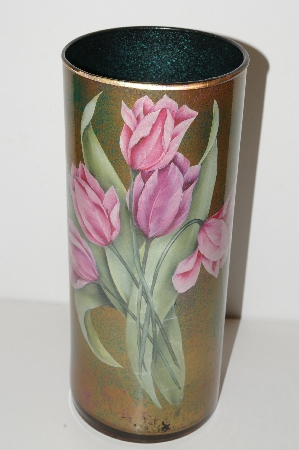 "**MBA #S13-059    ""Hand Made Pink Floral Reverse Decopage Glass Large Vase"""