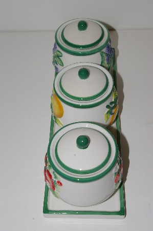"MBA #S13-096   ""Set Of 3 Fruit Scented Candles In Hand Painted Ceramic Jars"""