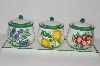 "+MBA #S13-096   ""2003 Set Of 3 Fruit Scented Candles In Hand Painted Ceramic Jars"""