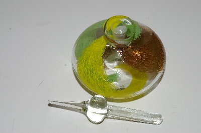 "**MBA #S13-189   ""Art Glass Yellow, Brown & Green Perfume Bottle With Glass Stopper"""