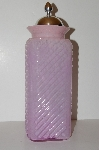"+MBA #S13-178   ""Large Pink Art Glass Canister Jar With Metal Lid"""
