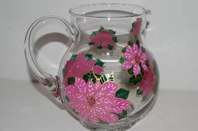 "**MBA #S13-205   ""One Of A Kind Hand Painted Pink Poinsettia Glass Pitcher"""