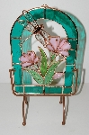 "+MBA #S13-182  ""2002 Beautiful 3D Stained Glass Flowers & Dragonfly Suncatcher With Stand"""