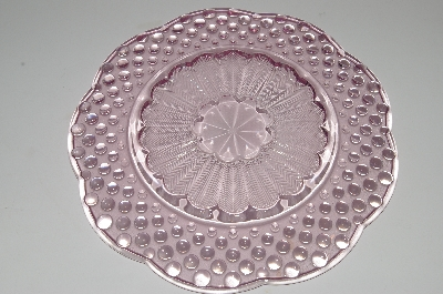 "**MBA #S13-162  ""Beautiful Pink Hobnail Embossed Glass Serving Plate"""