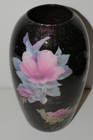 "**MBA #S13-073   ""One Of A Kind Pink Floral Hummingbird Reverse Decapage Glass Vase"""
