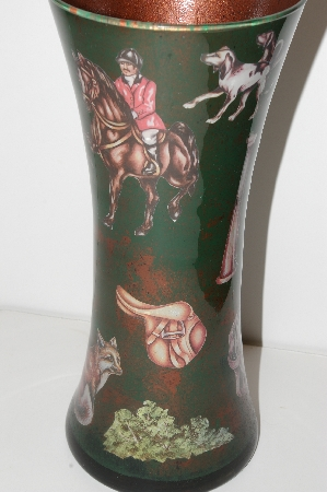 "**MBA #S13-067  ""One Of A Kind Equestrian Style Reversed Decopage Glass Vase"""