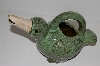 "+MBA #S13-081  ""2003  Large Green Ceramic Bird Plant Water Can"""