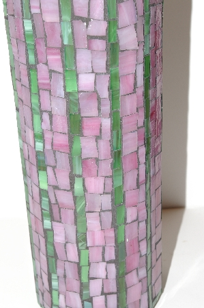 "MBA #S13-106   ""Older Hand Made Pink & Green Mosiac Large Canister Jar"""
