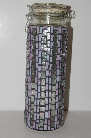 "MBA #S13-114   ""Older Hand Made Pink & AB Clear Stained Glass Mosiac Large Glass Canister"""