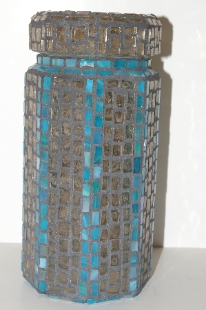 "MBA #S13-143   ""Older Blue & Clear Stained Glass Mosiac Canister Jar"""