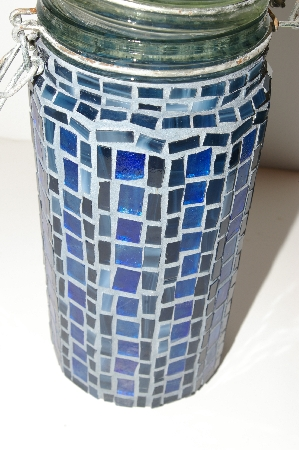 "MBA #S13-170   ""Older Hand Made Blue Stained Glass Mosiac Canister Jar"""