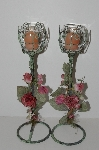 "+MBA #S13-090  ""1991 Set Of 2 Antiqued Green Metal & Rose Candle Holders"""