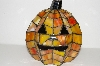 """SOLD""   MBA #S13-125   ""2005  Handmade  Stained Glass Pumpkin Accent Lamp"""
