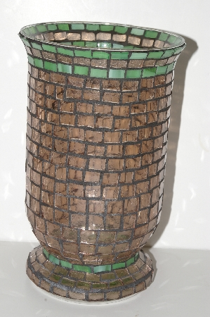"MBA #S28-352   ""Hand Made Pink & Green Stained Glass Mosiac Flower Vase"""