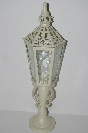 "MBA #S28-283   ""2004 White Metal Candle Lamp"""