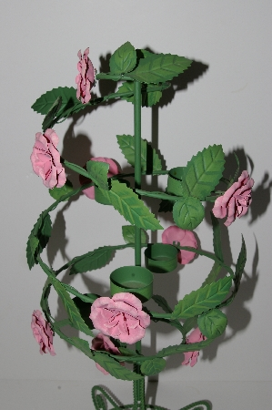"MBA #S28-258   ""2002 Fancy Pink Rose Large Metal Tea Light  Candle Holder"""