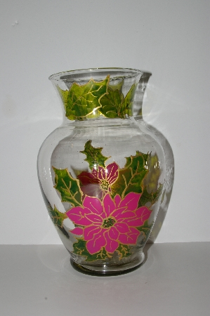 "**MBA #S28-293   ""Older One Of A Kind Hand Painted Pink Poinsettia Flower Vase"""