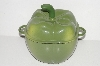 "**MBA #S28-359   ""Older Technique Green Enameled Cast Iron Bell Pepper 2-Qt Pot With Matching Trivett """