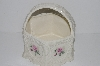 "**MBA #S28-312    ""Older Ceramic Pink Rose Lace Basket"""