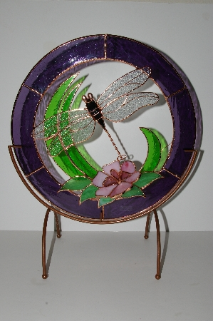 "MBA #S28-364   ""Older Large Stained Glass Dragonfly Sun Catcher With Stand"""