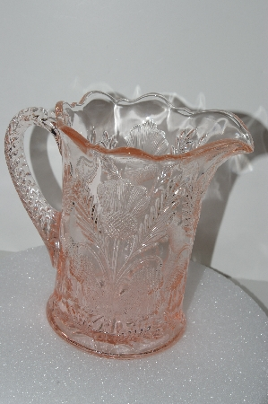 "**MBA #S28-032   ""Fancy Pale Pink Glass Water Pitcher"""
