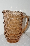 "**MBA #S28-036   ""Vintage Pink Depression Glass Cube Pattern Pitcher"""