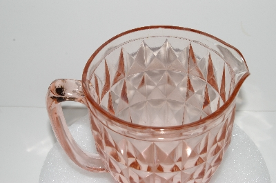 "**MBA #S28-041   ""Vintage Pink Depression Glass Windsor Diamond Pattern Pitcher"""