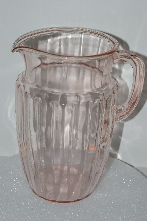 "**MBA #S28-066  ""1930's Pink Depression Glass Water Pitcher"""