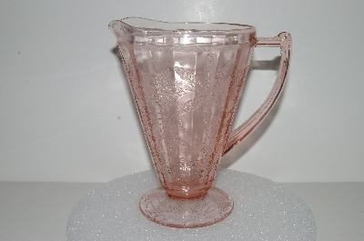 "**MBA #S28-074   ""Vintage Pink Depression Glass Poinsettia Pitcher"""