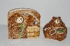 "**MBA #S28-240  ""Brown Bear Napkin Holder & Covered Dish Set"""