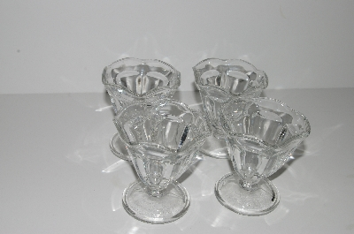 "**MBA #S28-227  ""Older Set Of 4 Clear Glass Ice Cream Dish's"""