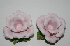 "+MBA #S28-155  ""2000 Pink Porcelain Pink Rose Candle Stick Holders"""