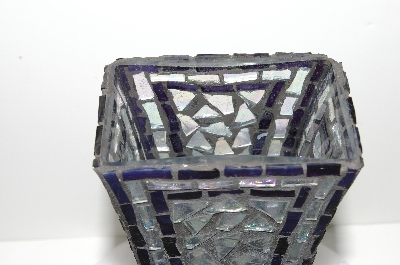 "MBA #S28-011  ""Hand Made & One Of A Kind Purple & AB Clear Glass Mosiac Vase"""