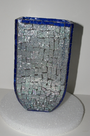 "MBA #S28-010   ""Hand Made Fancy Clear & Blue Stained Glass Mosiac Vase"""