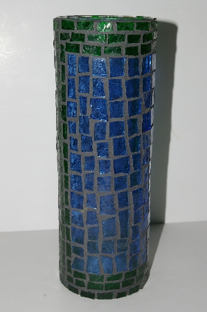 "MBA #S31-136  ""Hand Made Fancy Blue & Green Stained Glass Mosiac Vase/Candle Holder"""